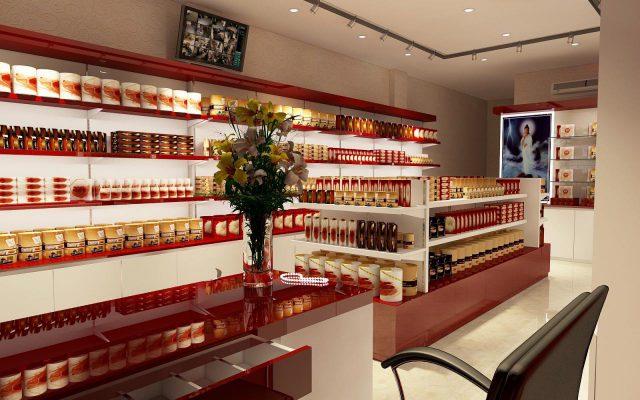 trưng bày sản phẩm khi thiết kế cửa hàng yến việt
