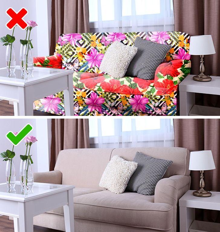 Sử dụng đồ nội thất với vải bọc hoa để trang trí nhà