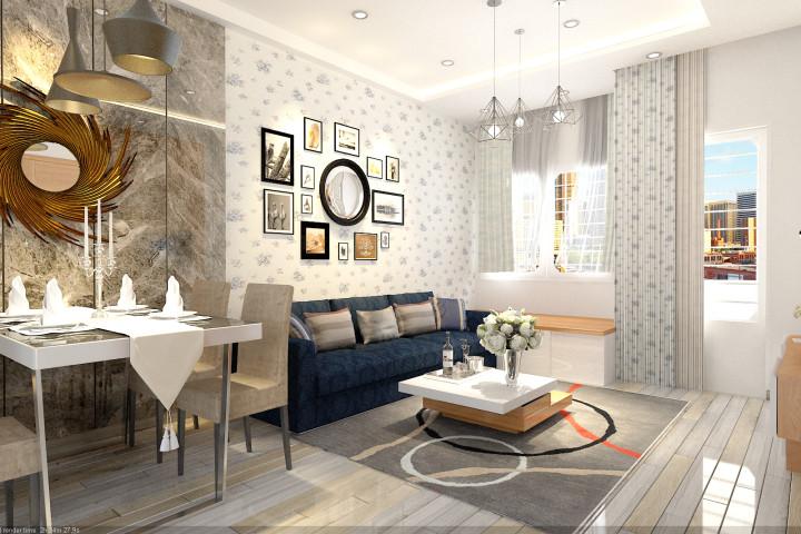 thiết kế nội thất phòng khách 1 chung cư Khánh Hội 1