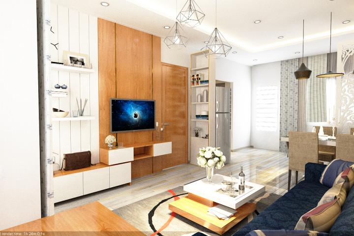 thiết kế nội thất phòng khách 2 chung cư khánh hôi 1